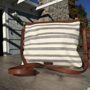 Fossil stripe large crossbody bag purse